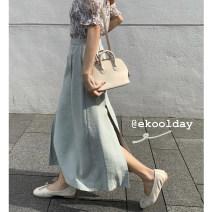 skirt Summer 2020 S,M,L Fresh green, versatile black longuette commute High waist A-line skirt Solid color 81% (inclusive) - 90% (inclusive) ekool Zipper, pocket Korean version