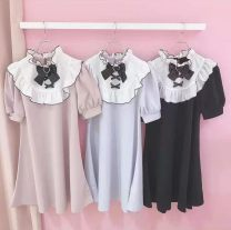 Dress Summer 2021 Black, light pink Average size Short skirt singleton  Short sleeve Sweet Loose waist puff sleeve 18-24 years old Type A knitting solar system