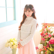 Lace / Chiffon Summer 2017 Milky white Average size Long sleeves Sweet Socket singleton  Straight cylinder High collar Solid color routine solar system