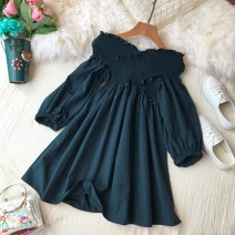 Dress Autumn of 2018 White, khaki, blue, black Average size Middle-skirt singleton  elbow sleeve commute V-neck High waist Solid color Socket Princess Dress bishop sleeve Others 18-24 years old Type A Korean version Tuck, open back, fold, splice, wave