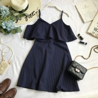 Dress Summer 2020 Black, blue, green, white, khaki Average size Middle-skirt singleton  Short sleeve commute V-neck High waist Solid color Socket A-line skirt camisole 18-24 years old Type A Korean version Ruffles, stitching, printing