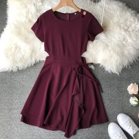 Dress Autumn of 2018 M, L Middle-skirt singleton  Short sleeve Sweet Crew neck High waist Solid color Socket Irregular skirt other Others 18-24 years old Type A Bow, ruffle, lace, stitching, asymmetric other solar system