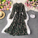 Dress Autumn 2020 Green, white, maroon, black Average size Mid length dress singleton  Long sleeves commute stand collar High waist Decor Socket A-line skirt routine Others 18-24 years old Type A Korean version 30% and below other other