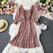 Dress Autumn 2020 Gray, black, blue, red Average size Mid length dress singleton  Long sleeves commute square neck High waist Decor Socket A-line skirt routine Others 18-24 years old Type A Korean version 30% and below other other