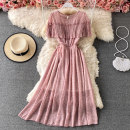 Dress Summer 2021 M Mid length dress singleton  Short sleeve commute Crew neck High waist Decor Socket A-line skirt puff sleeve 18-24 years old Type A Korean version Lace 30% and below other other