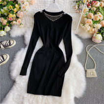 Dress Autumn 2020 black Average size Mid length dress singleton  Long sleeves commute Crew neck High waist Solid color Socket other routine Others 18-24 years old Type X Korean version Drill, chain 30% and below