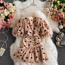 Dress Winter 2020 Apricot Average size Mid length dress singleton  Short sleeve commute square neck High waist Solid color Socket A-line skirt routine camisole 18-24 years old Type A Korean version 30% and below other other