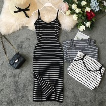Dress Summer of 2019 Average size Mid length dress singleton  Sleeveless commute V-neck High waist stripe Socket One pace skirt other camisole 18-24 years old Type X Korean version Open back, stitching 31% (inclusive) - 50% (inclusive) knitting