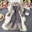 Dress Autumn 2020 Off white, pink, black, gray, light brown M, L Mid length dress Two piece set Long sleeves commute Polo collar High waist Solid color Socket A-line skirt routine Others 18-24 years old Type A Korean version 30% and below other other
