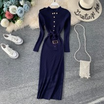 Dress Autumn of 2019 Black, green, apricot, red, blue Average size Mid length dress singleton  Long sleeves commute stand collar High waist Solid color Socket A-line skirt routine Others 18-24 years old Type X Korean version Bowknot, fold, lace up, stitching, asymmetry, strap, button knitting other