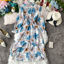 Dress Spring 2020 Blue, white, green, pink, yellow, black, yellow, white flowers Average size Mid length dress singleton  Long sleeves commute Crew neck High waist Solid color zipper A-line skirt other Others 18-24 years old Type A Korean version 31% (inclusive) - 50% (inclusive) other other