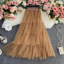 skirt Summer 2021 Average size Black, light blue, apricot, sapphire, ginger Mid length dress commute High waist Pleated skirt Dot Type A 18-24 years old Ruffle, pleating, asymmetry, mesh, stitching