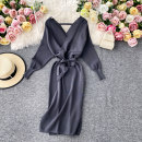 Dress Autumn 2020 Green, black, dark grey Average size Mid length dress singleton  Short sleeve commute square neck High waist Solid color Socket A-line skirt routine Others 18-24 years old Type A Korean version 30% and below other other
