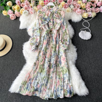 Dress Winter 2020 Red, yellow, pink, orange, blue, off white Average size longuette singleton  Long sleeves commute other High waist other Socket A-line skirt routine 18-24 years old Type A Korean version Bowknot, ruffle, tuck, lace, print 30% and below other other