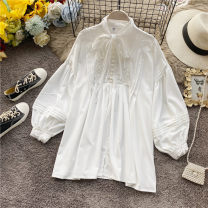 Lace / Chiffon Spring 2020 white Average size Long sleeves commute Socket singleton  Self cultivation Regular Crew neck Solid color routine 18-24 years old Korean version 31% (inclusive) - 50% (inclusive)