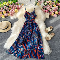 Dress Summer 2020 royal blue S,M,L Mid length dress singleton  Sleeveless commute V-neck High waist Decor Socket A-line skirt routine camisole 18-24 years old Type A Korean version 30% and below other other