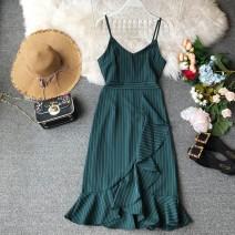 Dress Summer of 2019 M, L Mid length dress singleton  Sleeveless commute V-neck High waist stripe Socket Irregular skirt camisole 18-24 years old Type X Korean version Ruffle, tuck, open back, fold, splice, wave