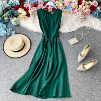 Dress Summer 2020 Black, red, white, yellow, emerald green Average size Mid length dress singleton  Sleeveless commute Crew neck High waist Solid color Socket A-line skirt routine Others 18-24 years old Type A Korean version 30% and below other other