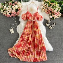 Dress Spring 2021 Orange red, light green, watermelon red, yellow, violet, yellow with blue background Average size Mid length dress singleton  Short sleeve commute V-neck High waist Decor Socket A-line skirt routine camisole 18-24 years old Type A Korean version 30% and below other other