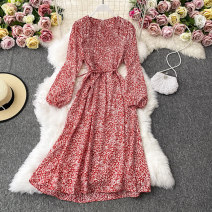 Dress Autumn 2020 Off white, red, brown, black, gray, white Average size Mid length dress singleton  Long sleeves commute Crew neck High waist Decor Socket A-line skirt routine Others 18-24 years old Type A Korean version 30% and below other other