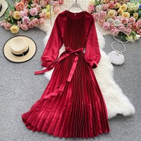 Dress Winter 2020 gules S,M,L,XL Mid length dress singleton  Long sleeves commute Crew neck High waist Solid color Socket A-line skirt routine Others 18-24 years old Type A Korean version 30% and below other other