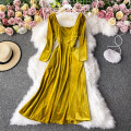 Dress Winter 2020 Black, yellow S,M,L,XL Mid length dress singleton  Long sleeves commute square neck High waist Solid color Socket A-line skirt routine Others 18-24 years old Type A Korean version 30% and below other other