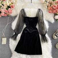 Dress Winter 2020 black S,M,L Middle-skirt singleton  Long sleeves commute square neck High waist Solid color Socket A-line skirt routine Others 18-24 years old Type A Korean version 30% and below other other