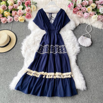 Dress Autumn 2020 Dark blue, yellow Average size Mid length dress singleton  Long sleeves commute V-neck High waist Solid color Socket A-line skirt routine Others 18-24 years old Type A Korean version 30% and below other other