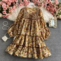Dress Spring 2021 Yellow flowers on a white background S,M,L,XL Mid length dress singleton  Long sleeves commute V-neck High waist Decor Socket Big swing bishop sleeve Others 18-24 years old Type A Korean version 30% and below other other