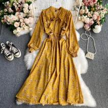 Dress Winter 2020 Pink, Burgundy, dark brown, apricot, red, blue, black, yellow, green Average size longuette singleton  Long sleeves commute V-neck High waist other Socket A-line skirt other 18-24 years old Type A Korean version Frenulum 30% and below other other