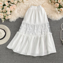 skirt Summer 2021 Average size Black, white Mid length dress commute High waist A-line skirt Solid color Type A 18-24 years old 30% and below other other Mesh, stitching Korean version