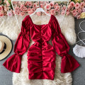 Dress Winter 2020 Average size Short skirt singleton  Long sleeves commute square neck High waist Solid color Socket One pace skirt pagoda sleeve Others 18-24 years old Type A Korean version 30% and below polyester fiber