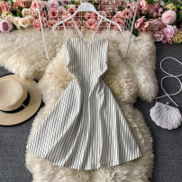 Dress Winter 2020 Black, black stripe, white stripe Average size Middle-skirt singleton  Sleeveless commute V-neck High waist Solid color Socket A-line skirt routine camisole 18-24 years old Type A Korean version 30% and below other other