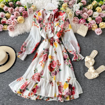 Dress Autumn 2020 Safflower on white background S,M,L,XL Mid length dress singleton  Short sleeve commute Double collar High waist Decor Socket A-line skirt routine Others 18-24 years old Type A Korean version 30% and below other other