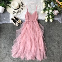 Dress Summer of 2019 Average size Mid length dress singleton  Sleeveless commute V-neck High waist Solid color Socket Cake skirt other camisole 18-24 years old Type A Korean version