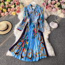 Dress Autumn 2020 blue M, L Mid length dress singleton  Long sleeves commute V-neck High waist Decor Socket A-line skirt routine Others 18-24 years old Type A Korean version 30% and below other other