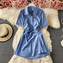 Dress Summer 2021 Black, blue, white, pink M, L Short skirt singleton  Short sleeve commute Polo collar High waist Solid color Socket A-line skirt routine 18-24 years old Type A Korean version Pleats, buttons 30% and below other other