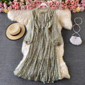 Dress Spring 2021 Average size Mid length dress singleton  Long sleeves commute Crew neck High waist Broken flowers Socket A-line skirt puff sleeve 18-24 years old Type A Korean version Ruffles, buttons 30% and below other other