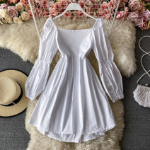 Dress Spring 2021 Apricot, black, white Average size Middle-skirt singleton  Long sleeves commute square neck High waist Solid color Socket A-line skirt routine Others 18-24 years old Type A Korean version 30% and below other other