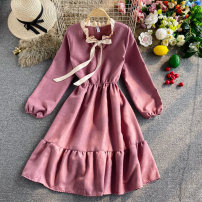 Dress Autumn 2020 Pink, apricot, blue, red, black, orange, ginger Average size Mid length dress singleton  Long sleeves commute V-neck High waist Solid color Socket A-line skirt routine Others 18-24 years old Type A Korean version 30% and below other other