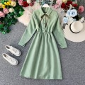 Dress Autumn of 2019 Dark blue, black, light blue, light green, pink, light brown, rust red Average size Mid length dress singleton  Long sleeves commute Polo collar High waist Solid color Single breasted A-line skirt bishop sleeve Others 18-24 years old Type A Korean version other other