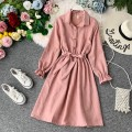 Dress Autumn of 2019 Pink, orange, blue, Burgundy, black, light brown, apricot, light blue, gray Average size Mid length dress singleton  Long sleeves commute Polo collar High waist Solid color Single breasted A-line skirt bishop sleeve Others 18-24 years old Type A Korean version other other