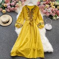 Dress Winter 2020 Red, blue, yellow, white Average size Mid length dress singleton  Long sleeves commute Crew neck High waist Solid color Socket A-line skirt routine Others 18-24 years old Type A Korean version 30% and below other other