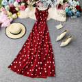 Dress Summer 2020 White dots on a red background S,M,L Mid length dress singleton  Sleeveless commute Crew neck High waist Dot Socket A-line skirt camisole 18-24 years old Type A Korean version Ruffles, open back, stitching, printing 30% and below Chiffon polyester fiber