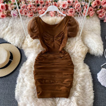 Dress Spring 2021 White, black, dark brown Average size Short skirt singleton  Short sleeve commute V-neck High waist Solid color Socket One pace skirt puff sleeve 18-24 years old Type X Korean version Pleating, open back, asymmetry, mesh 30% and below other other