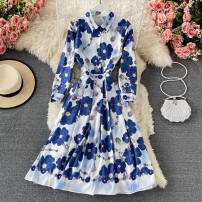 Dress Spring 2021 blue M,L,XL,2XL longuette singleton  Long sleeves commute Polo collar High waist Solid color Socket A-line skirt routine 18-24 years old Type A Korean version printing 30% and below other other