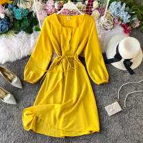 Dress Spring 2020 Light green, pink, blue, apricot, black, red, yellow, jujube Average size Mid length dress singleton  Long sleeves commute square neck High waist Solid color Socket A-line skirt routine Others 18-24 years old Type A Korean version 31% (inclusive) - 50% (inclusive) other other