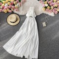 Dress Summer 2020 white S,M,L Mid length dress singleton  Sleeveless commute V-neck High waist Solid color Socket A-line skirt other camisole 18-24 years old Type A Korean version 30% and below other other