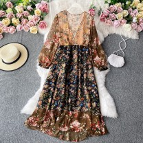 Dress Winter 2020 Ginger  Average size Mid length dress singleton  Long sleeves commute V-neck High waist Decor Socket A-line skirt routine Others 18-24 years old Type A Korean version 30% and below other other