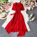 Dress Summer 2020 gules M, L Mid length dress singleton  Short sleeve commute Polo collar High waist Solid color Socket A-line skirt routine Others 18-24 years old Type A Korean version 30% and below other other